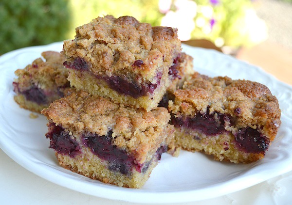 Healthy whole wheat blackberry crumb bars - SO good.