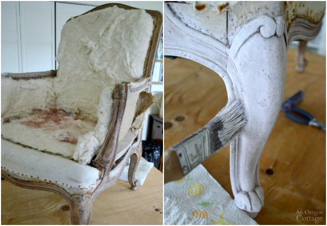 1970s French Chair Makeover-stripped and painting