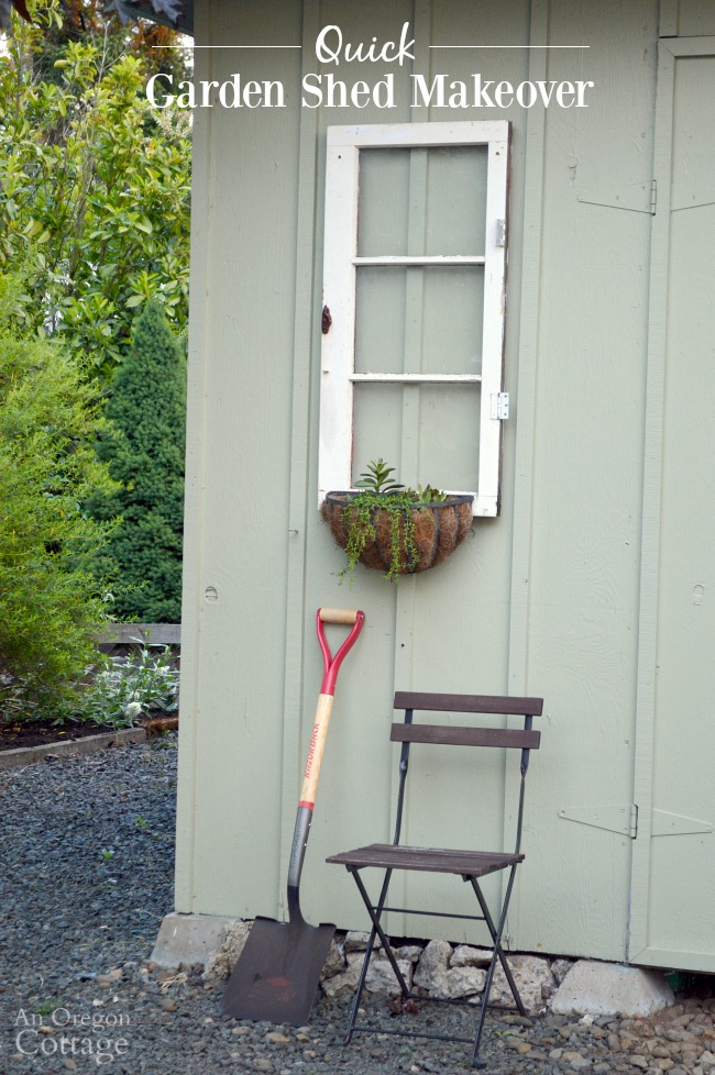 Quick Garden Shed Makeover with vintage windows and sedum baskets