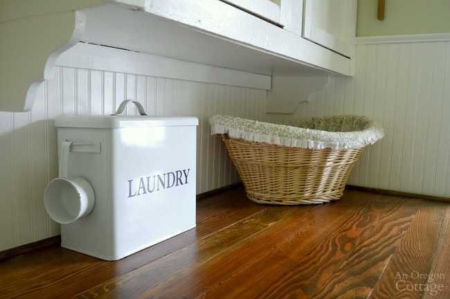 Cottage Farmhouse Laundry-Mudroom Makeover after-laundry counter