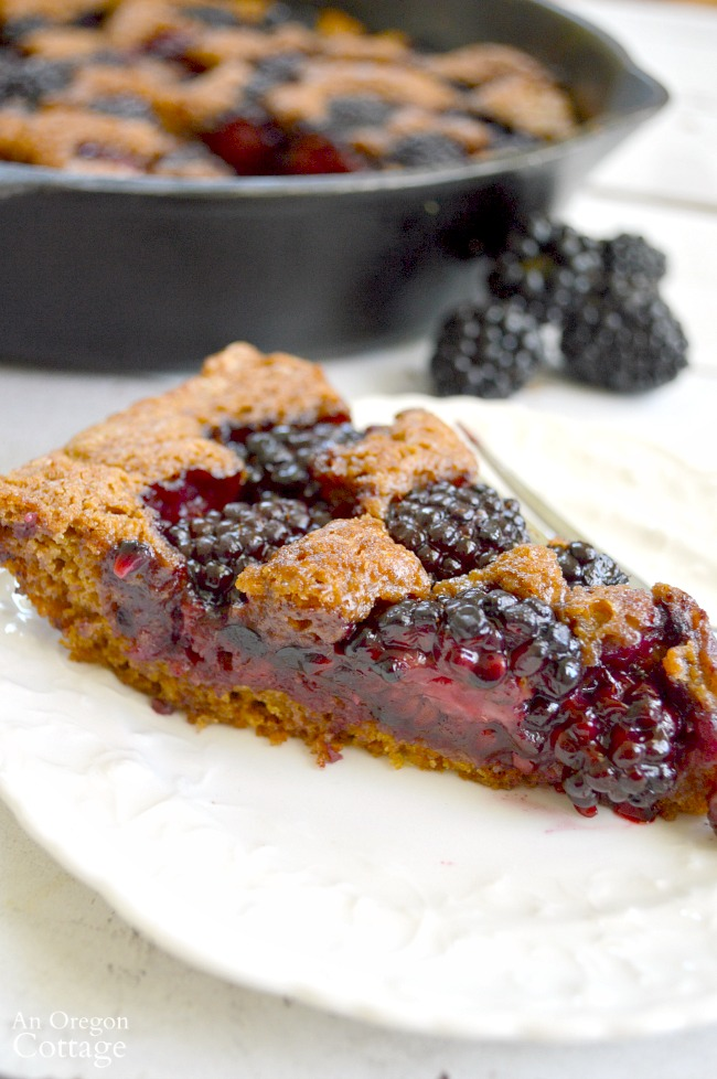Whole Wheat Skillet Blackberry Cobbler makes a healthy and delicious dessert