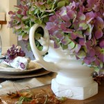 Rustic Purple & Green Hydrangea Fall Tablescape