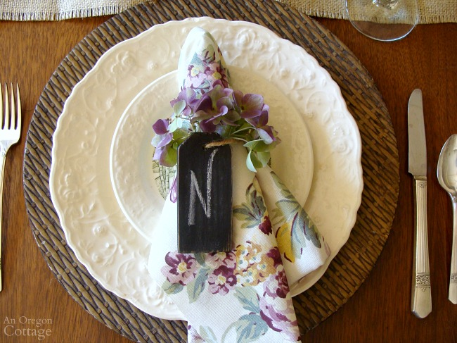 Hydrangea Fall Tablescape placesetting