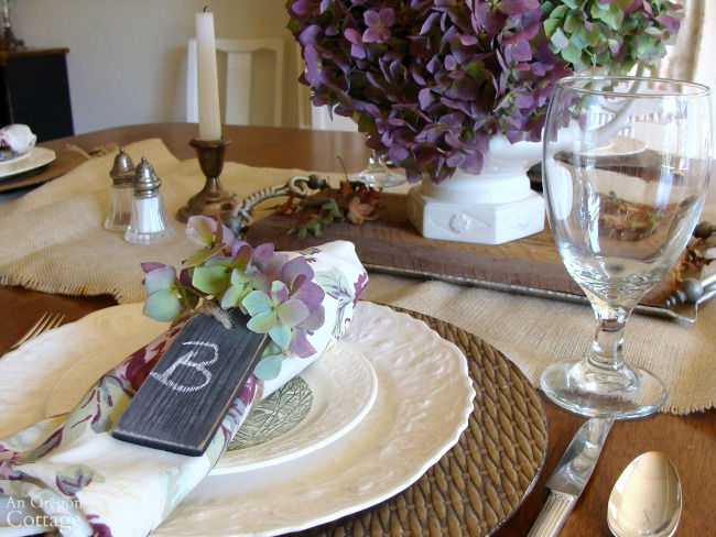 Hydrangea Fall Tablescape in colors of purple and green