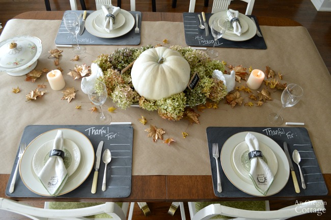 Chalkboard and Gold Thanksgiving Table
