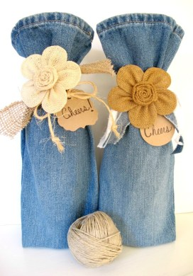 DIY Wine Bags from Pant Legs -31 Days of Handmade Gifts