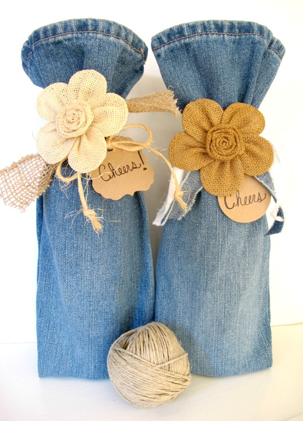 Handmade gift idea #11- Adorable DIY wine bags from old jeans via My Soulful Home at AnOregonCottage.com