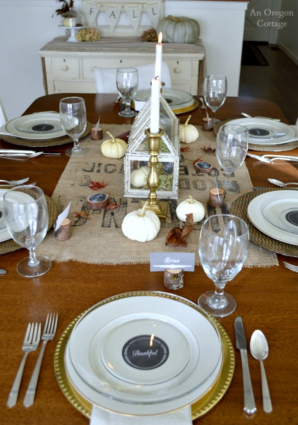 Thanksgiving rustic and gold table