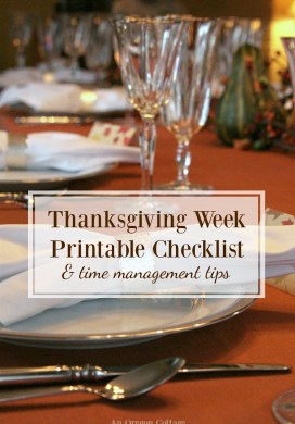 Thanksgiving Week Checklist Printable & Time Management Tips