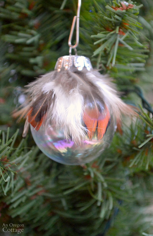 Simple feather and glass ball Christmas ornament DIY