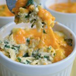 Overnight Scrambled Eggs with Spinach and cheese