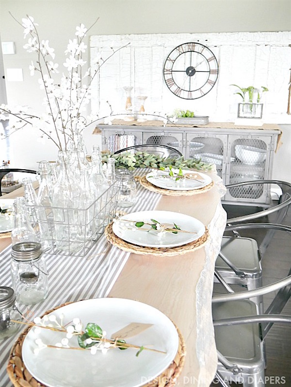 Industrial farmhouse spring Easter table setting at Design Dining and Diapers