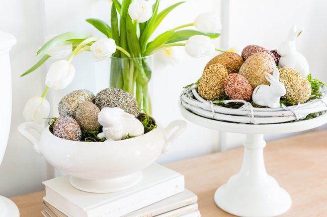 Pottery Barn inspired glitter Easter eggs at The Home I Create