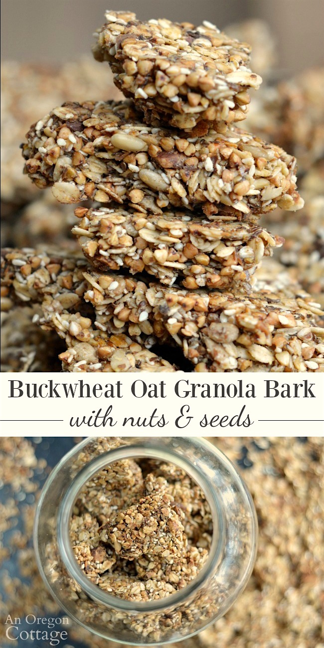 Buckwheat Oat Granola Bark with Nuts and Seeds for healthy breakfasts and snacks