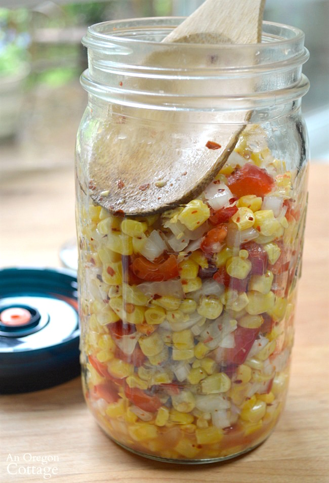 Easy Fermented Corn Relish-pressing in jar