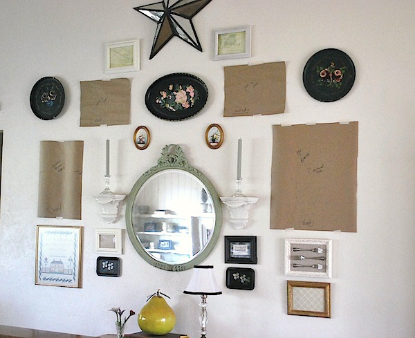Eclectic gallery wall step 2-hanging with templates