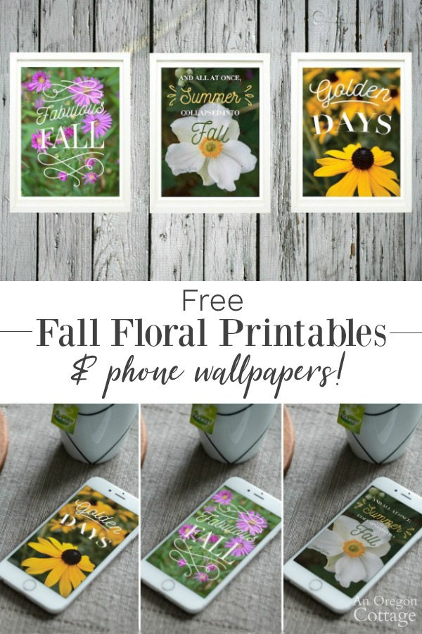 Free fall floral printables and phone wallpapers. Welcome fall with easy decor both indoors and on the go.
