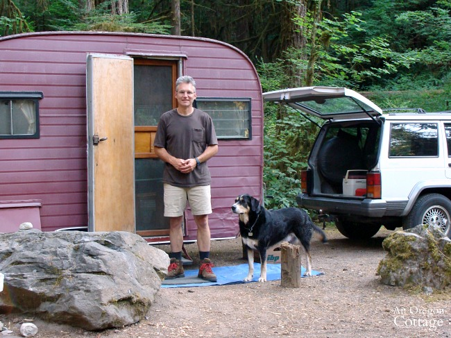 Camping with vintage trailer