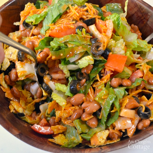 Mixing Tex-Mex Salad with beans