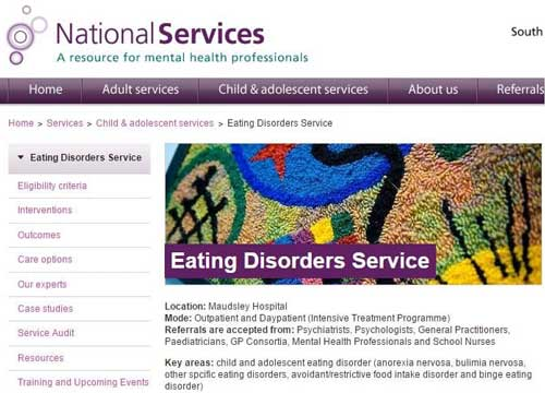 SLAMS child and adolescent eating disorder service of the Maudsley hospital