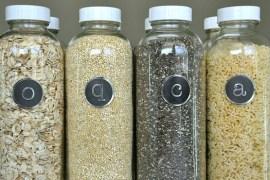 upcycled-kombucha-bottles-recyle-labels-pantry-organization-bulk-goods