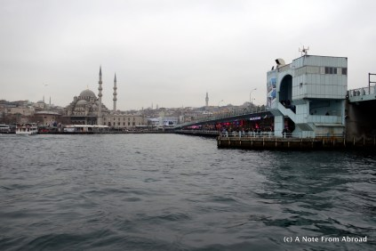 About to cruise under the Galata Bridge with the New Mosque in off to the side