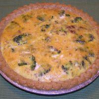 Broccoli, Spinach, Bacon, Cheese, and Onion Quiche
