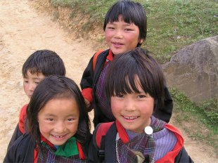schoolgirls, Phobjika valley, Bhutan