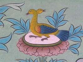 Ducks in a mural in Punakha Dzong, Bhutan