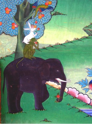 Parable of the four friends, mural in Punkaha Dzong, Bhutan