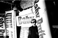Andy Warhol with giant Baby Ruth bars, 1966
