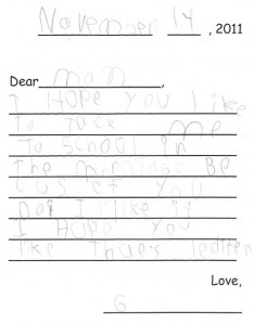 a letter from a 1st grader