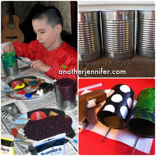 We painted our recycled tin cans and hot glued nails as perches for the birds.
