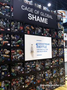I liked SodaStream's display of how many bottles you can save from the landfill by using just one SodaStream bottle.