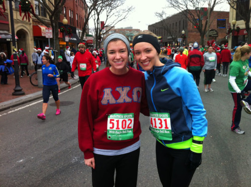 Erica and I at the Somerville Jingle Bell Run in December 2012.
