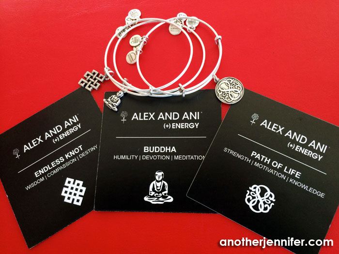 The latest additions to my Alex and Ani collection of bangles.