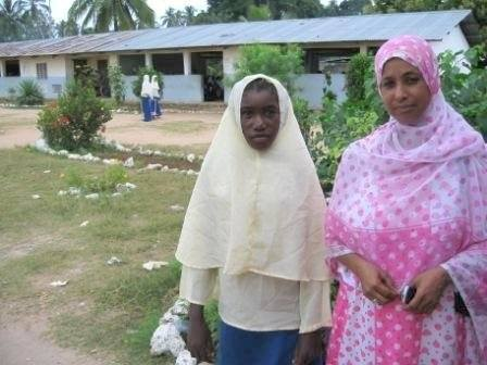 Headmistress Fatma Abeid (in the pink) with one of the first recipients of Sophia's funding. Photo credit: Sophia Neghesti Johnson