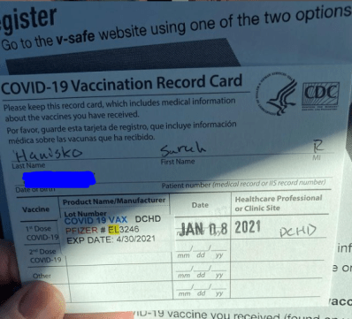Covid 19 Vaccination Record Card