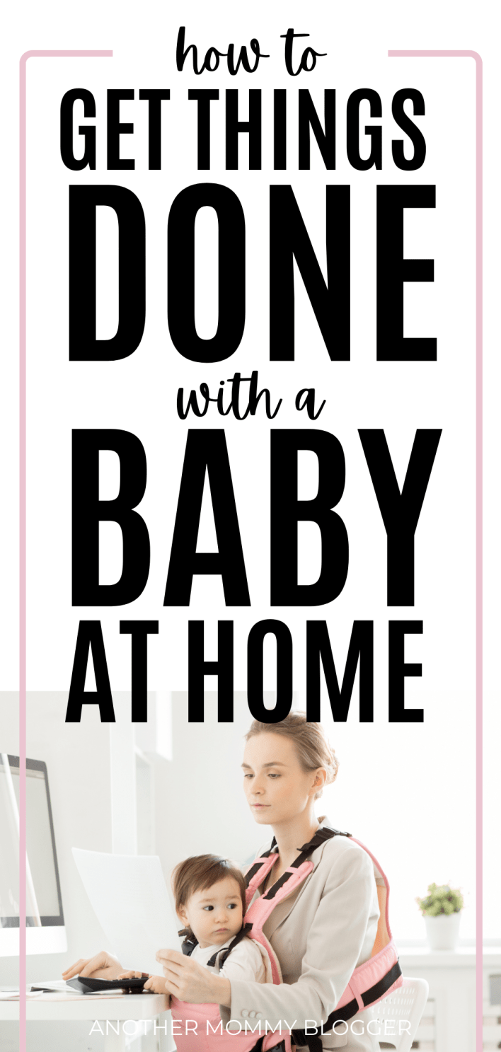 Wondering how to get anything done with a clingy baby? This post with give you the baby tips you need to get chores done at home. #babytips