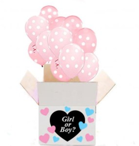 Balloons in a box gender reveal