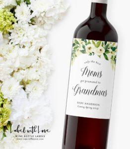 Pregnancy announcement wine label
