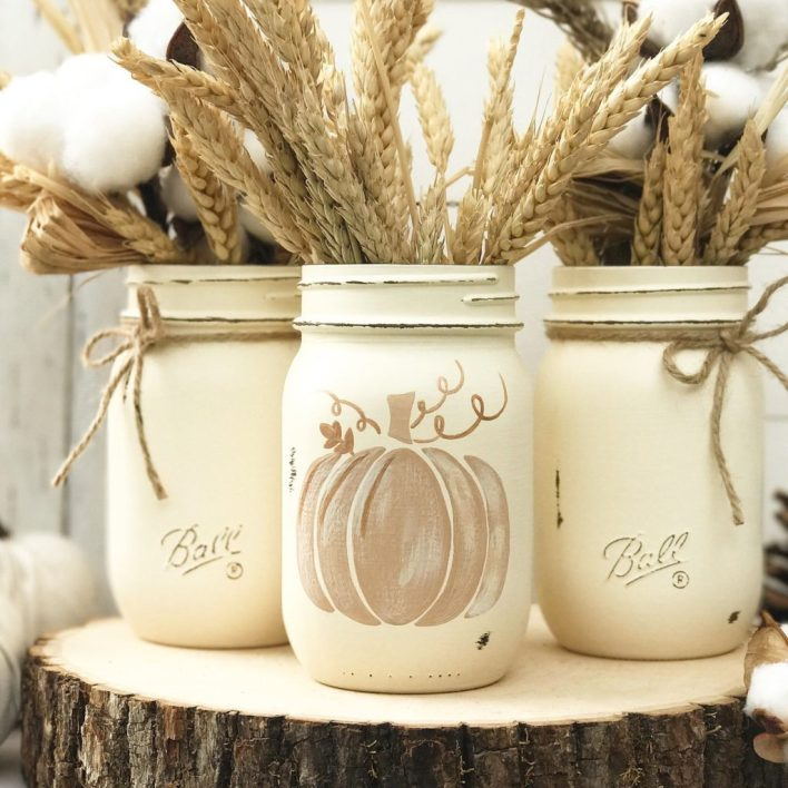 Neutral Pumpkin Trio Decor