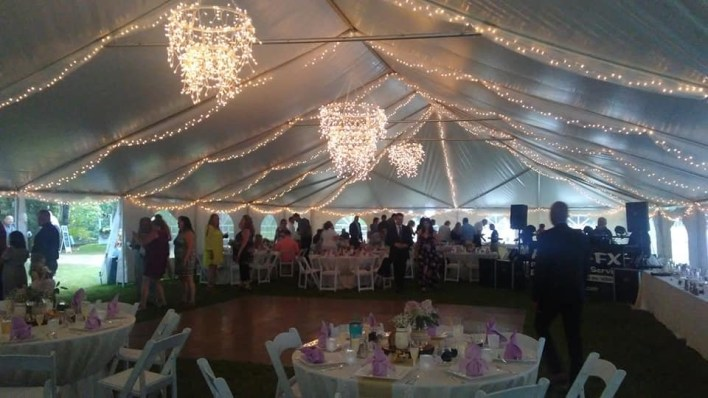 Outdoor wedding tent lighting ideas