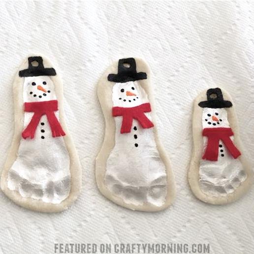 Salt Dough Snowman Footprint