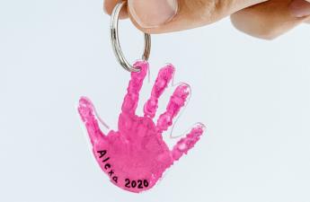 Kids handprint keychain craft