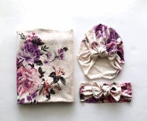 Purple Floral Swaddle Blanket