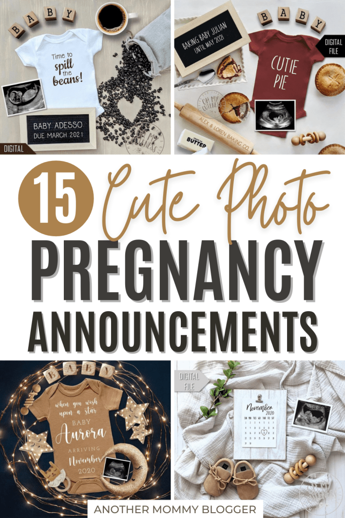 Cute pregnancy announcement photo ideas for social media you'll love. These are fun ways to tell family and friends you're pregnant on Instagram and Facebook.
