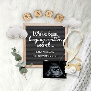Flat Lay Pregnancy Announcement