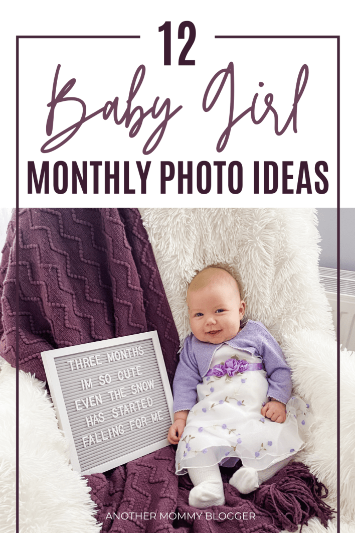 Looking for baby girl Photoshoot ideas. Here are 12 monthly baby girl picture ideas. In this post you'll find diy baby Photoshoot at home tips you'll need to take your own baby photos.