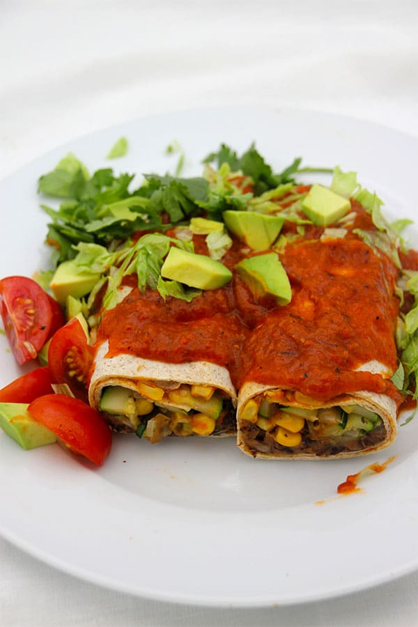 black-bean-burritos-and-red-pepper-sauce-with-coriander-sour-cream